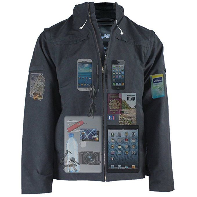 AyeGear J25 Jacket and Vest with 25 Pockets, Tablet iPad Pockets, Navy Blue M