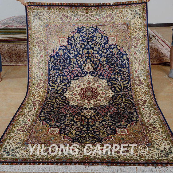 Yilong 5'x8′ Persian silk carpet medallion vantage…