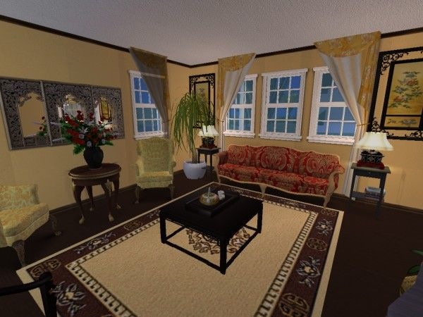 Asian Inspired Living Room Virtual Home Décor Designs Using The Sims 2