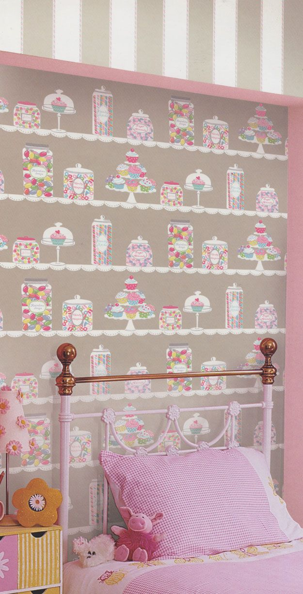 Sweet Tooth Taupe Kids Wallpaper | designyourwall.com