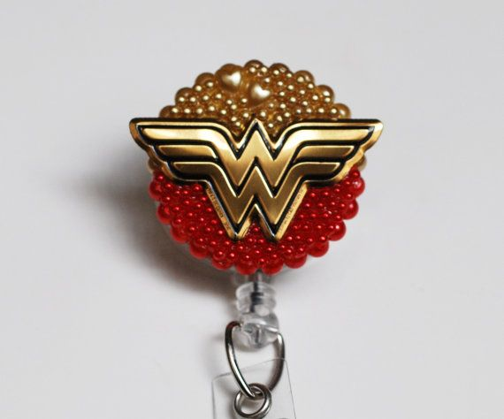 Wonder Woman Logo In Red ID Badge Reel by ZipperedHeart on Etsy