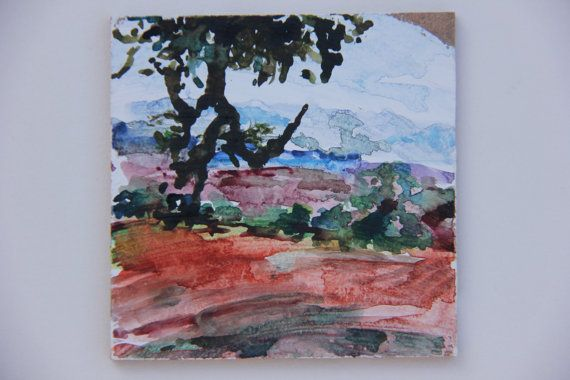 """CHRISTMAS GIFT, Watercolor Painting, Original 3.54"""" x 3.54"""", """"fields 3"""", Watercolor on wood panel"""
