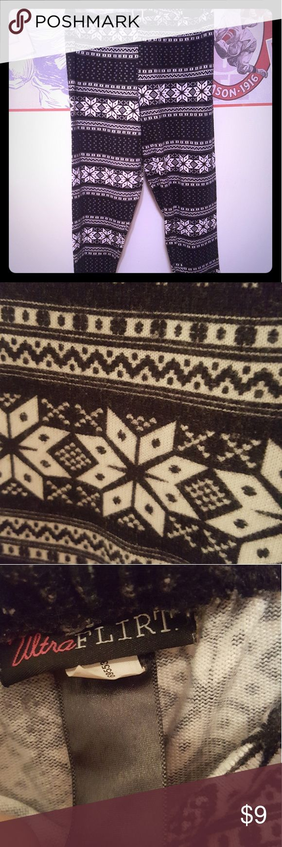 Snowflake Leggings Thicker material for those colder months. Tribal snowflake pattern. Size isn't listed, but I would say Medium. HAPPY POSHING! PRICE NEGOTIABLE! Ultra Flirt Pants Leggings
