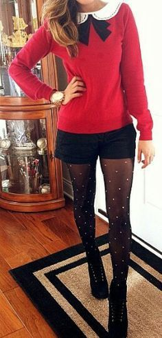 Holiday Party Style: Channeling Zooey Deschanel.  Love Shorts with Tights