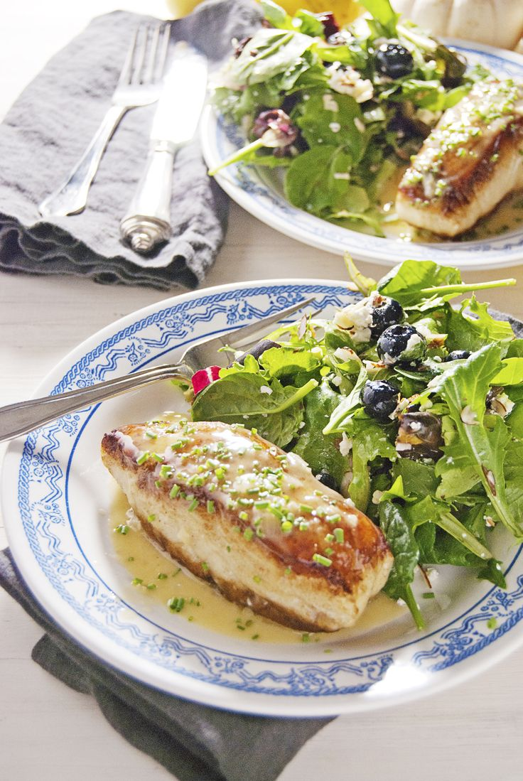 A simple and delicious pan seared sea bass paired with luscious lemon chive beurre blanc makes for a tasty and easy weeknight meal!