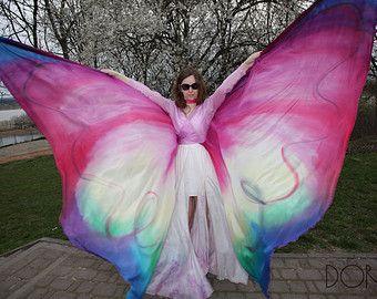 Alas de la mariposa de seda pintadas