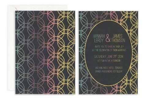 Rainbow Halos Wedding Invitation– Jo's Paperie #wedding #invitations #floral #template