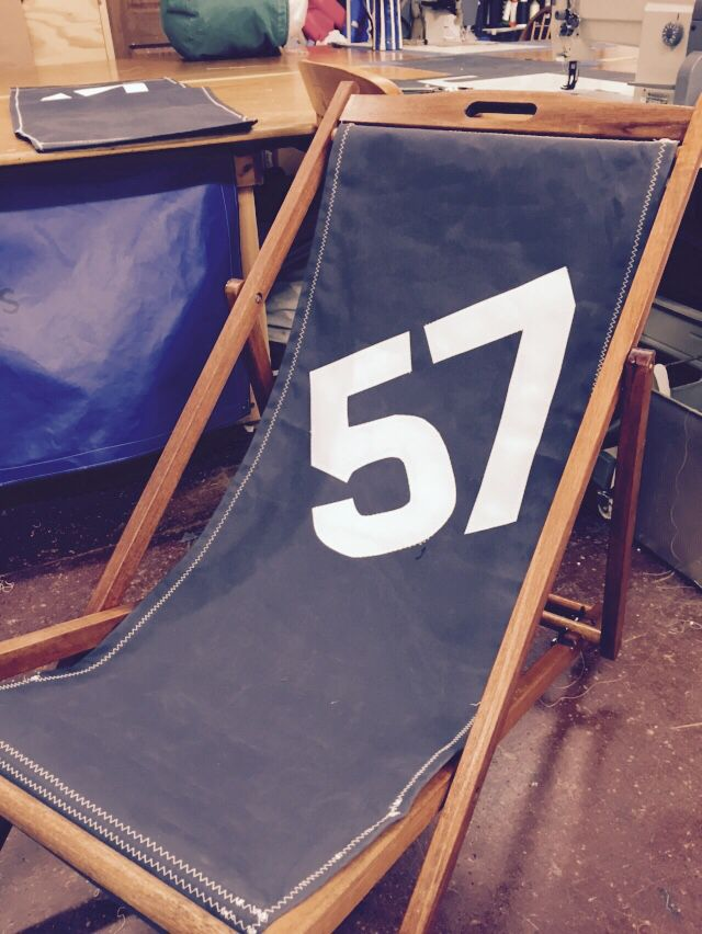 Beautiful upcycled deckchairs using old sailcloth canvas handmade in Devon by Sa…