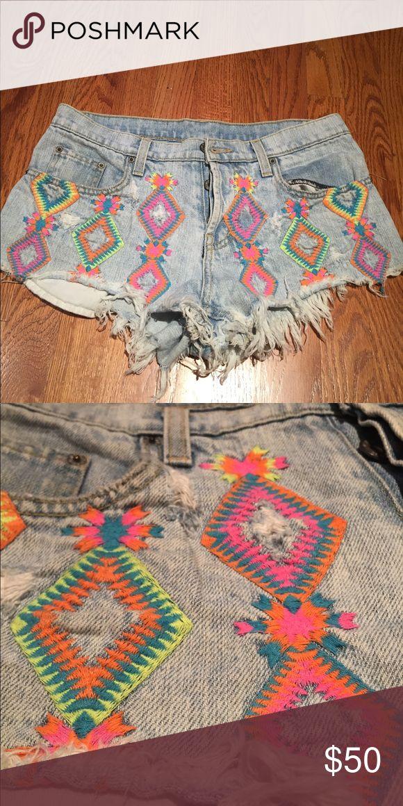 Carmar Embroidered Neon Shorts denim LF From LF great shape; run a little small Carmar Shorts Jean Shorts