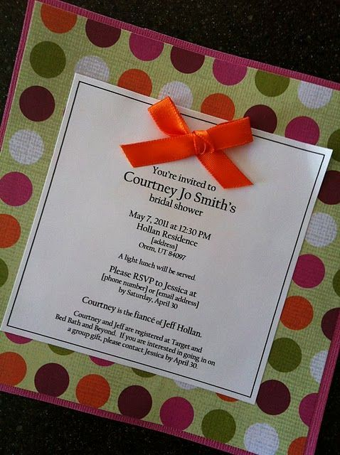 easy handmade bridal shower invitation