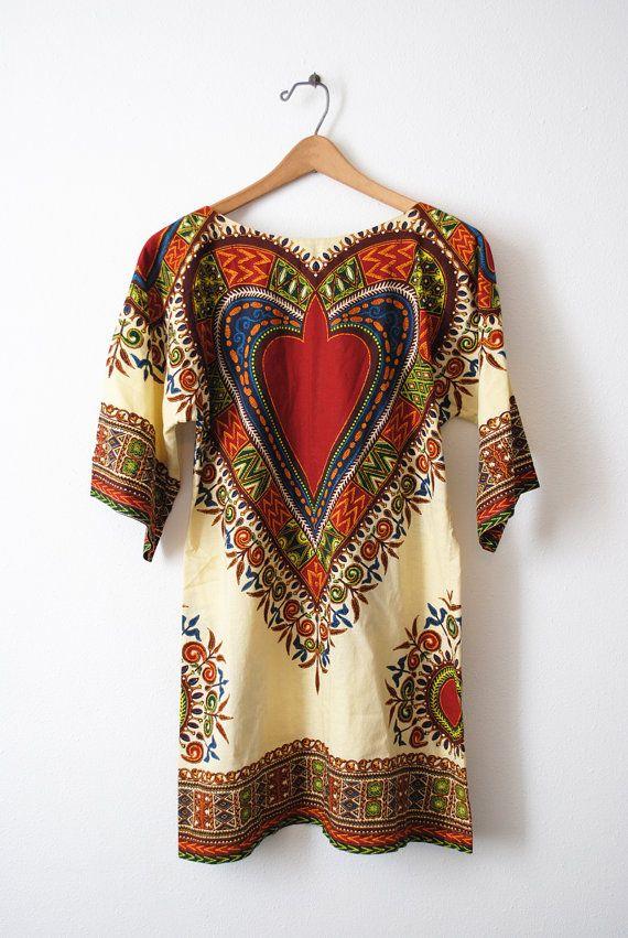 Vintage 60s Dashiki Mini Tunic Dress  M by LunaMarket on Etsy, $46.00