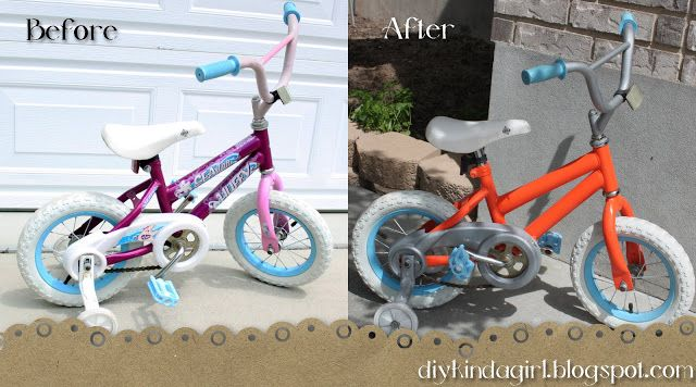 "How to repaint a kids bike... Use Luke's 12"" for Kate maybe? Make it girlier looking?"