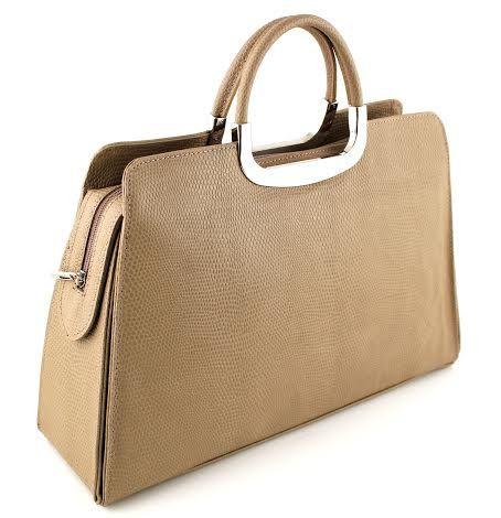 Prachtige handgemaakte handtas van runderleer uit  Italië met zilveren handgrepen.
