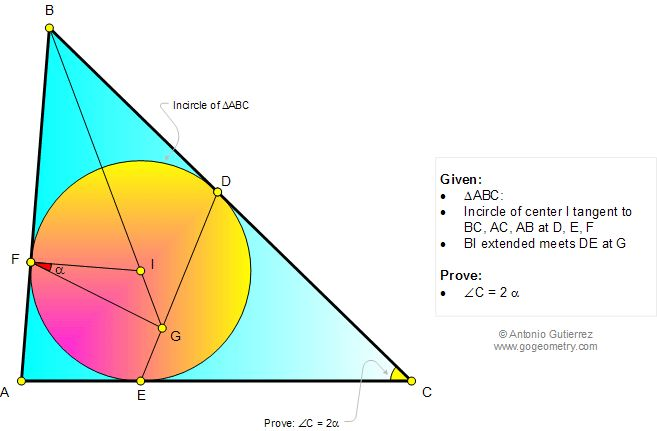 Geometry Problem 1060 Triangle, Incircle, Incenter, Inscribed circle, Tangent, Angle