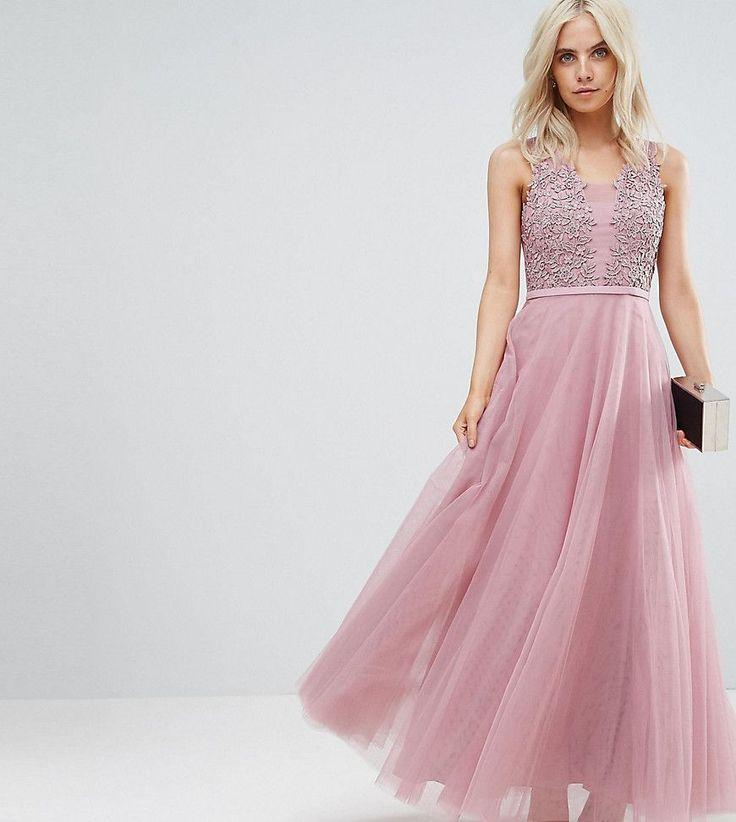 Little Mistress Petite Floral Applique Top Maxi Prom Dress - Pink