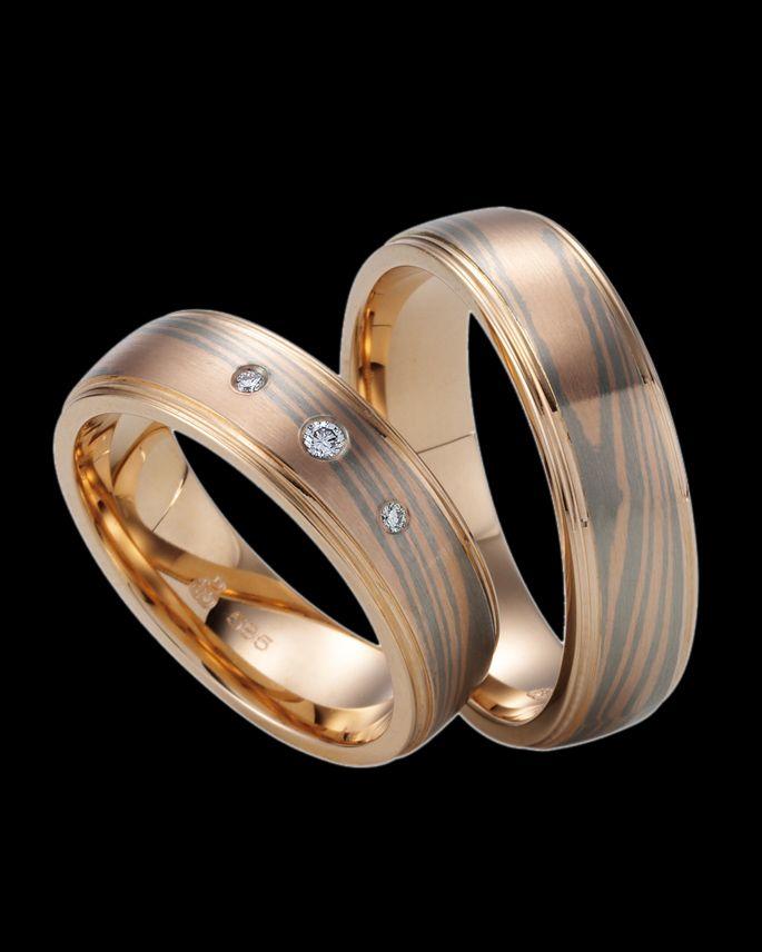 Βέρες Χειροποίητες Mokume Gane δίχρωμες χρυσός-λευκόχρυσος Κ14 με Διαμάντι | eleftheriouonline.gr