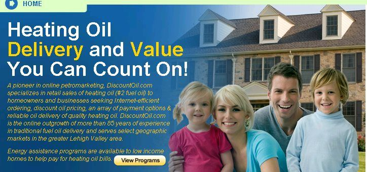 DiscountOil.com in Bethlehem, PA offers discount heating oil delivery in Lehigh Valley, Allentown PA, Bethlehem PA, and Easton PA areas. DiscountOil.com specializes in online sales of cheap heating oil (#2 fuel oil) to businesses and homeowners seeking discount oil pricing, reliable oil delivery of quality heating oil, and an array of payment options.
