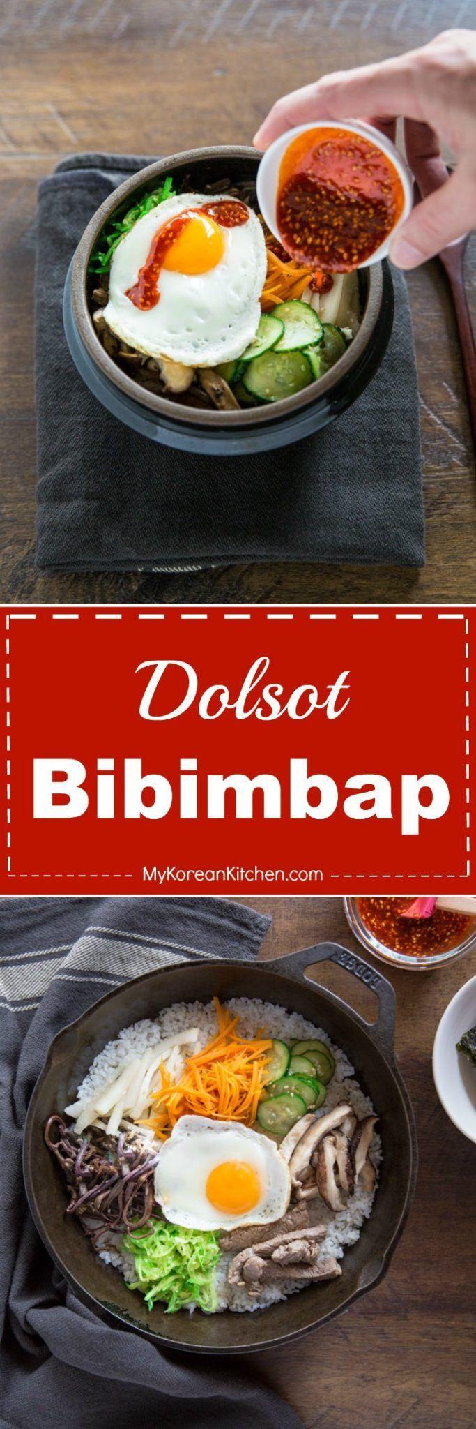 Dolsot Bibimbap Recipe. Learn how to make crispy Korean bibimbap with or without a Korean hot stone bowl. | MyKoreanKitchen.com   #bibimbap #koreanfood #gochujang #onebowlmeal