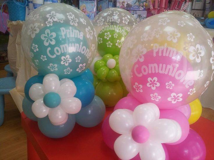 centrotavola comunione con palloncino trasparente stampato e interno con palloncino di qualsiasi colore