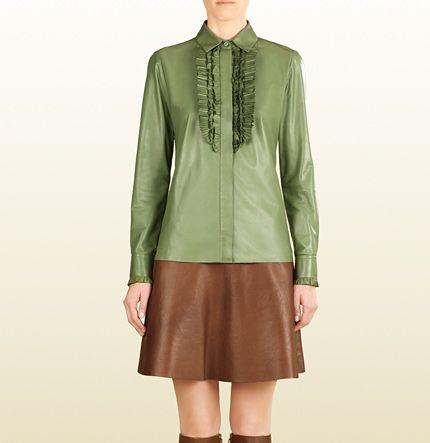 Leather Ruffle Button Down Shirt