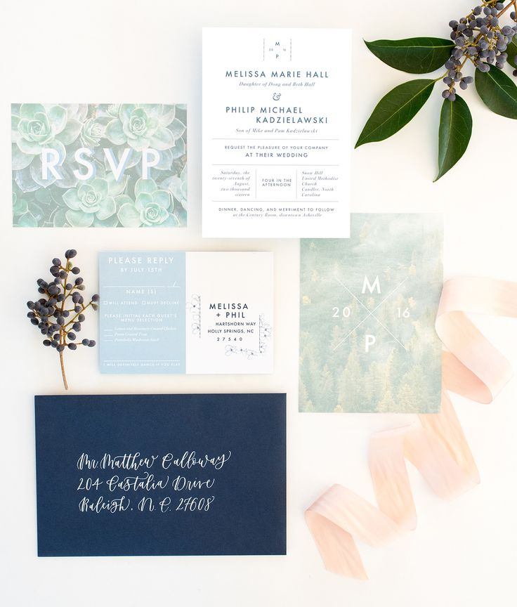 Playful Mountain-Inspired Wedding Invitations by One and Only Paper