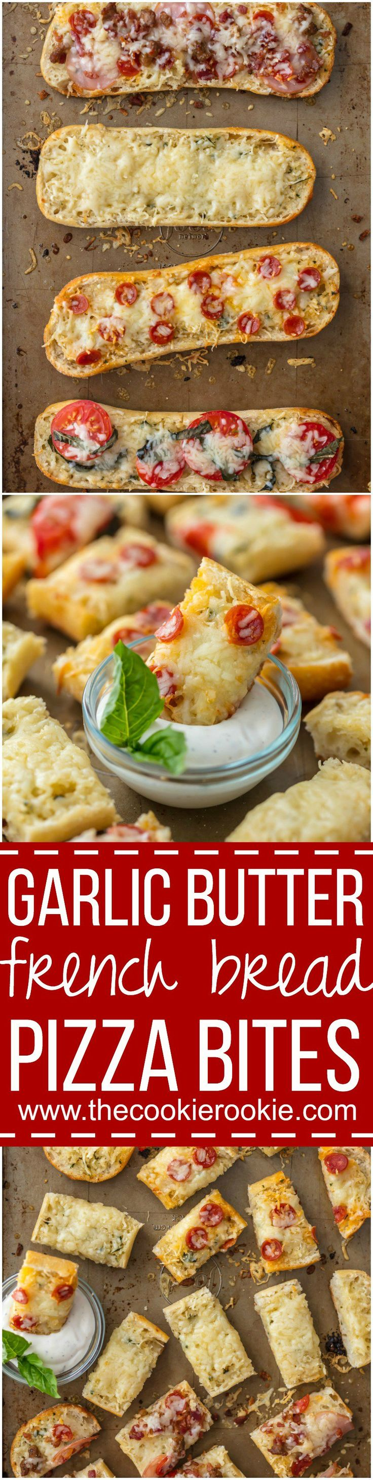 These GARLIC BUTTER FRENCH BREAD PIZZA BITES are the easiest and tastiest cheesy appetizer! Loaded with garlic butter, cheese, and all your favorite toppings! I say these are an appetizer, but we may just eat them as an entire meal! #ad @labreabakery @walmart