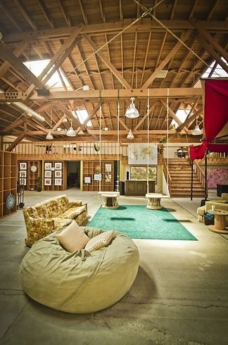 Couchsurfing office in San Francisco...love the wooden ceiling and walls.