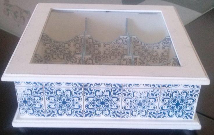 Caixa de Chá 9 sabores com vidro   Art by Heart - Silmara Moraes   Elo7