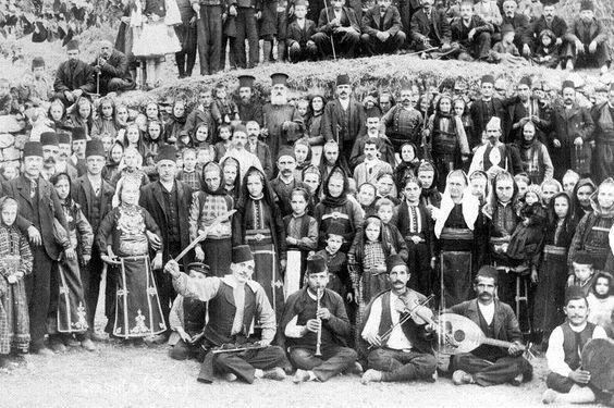 Aromanian musicians, Avdhela, Grevena Macedonia, Greece by brothers Manaki photo