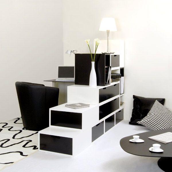Espace loggia lit mezzanine separation piece brick nb for Meuble separation de pieces design