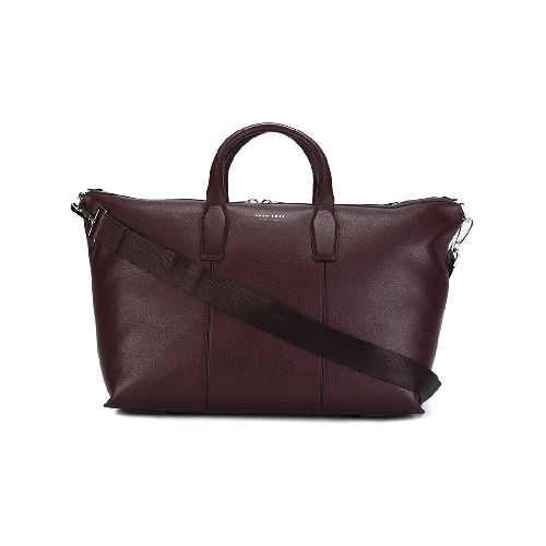 Purple calf leather 'Signature' holdall from Boss Hugo Boss. Size: OS. Color: Pink/purple. Gender: Male. Material: Calf Leather/Polyester.