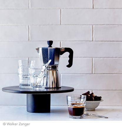 **I love glazed brick looking tiles, subtle but gorgeous** Walker Zanger Cafe - Milk 3'' x 12''