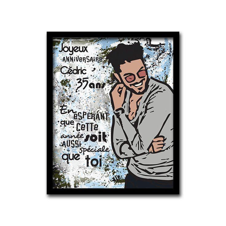 Tableau idée cadeau pour anniversaire homme peint main à l'acrylique : Décorations murales par tableau-cadeau-personnalise-peint-a-la-main-art-moderne