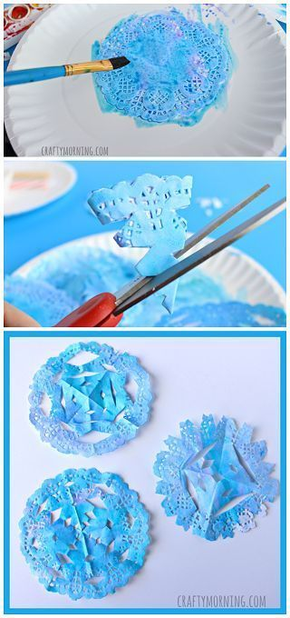 Doily Snowflakes - Winter craft for kids to make!