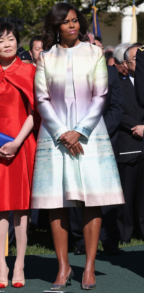Michelle Obama Is Radiant in Sunrise-Print Monique Lhuillier Ensemble—See Her Chic Ombré Look!  Michelle Obama