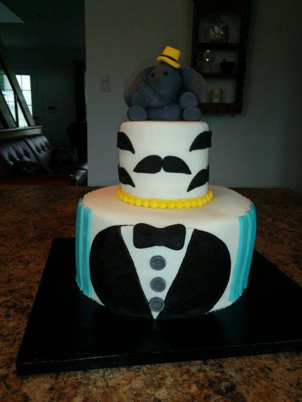Mustache elephant cake