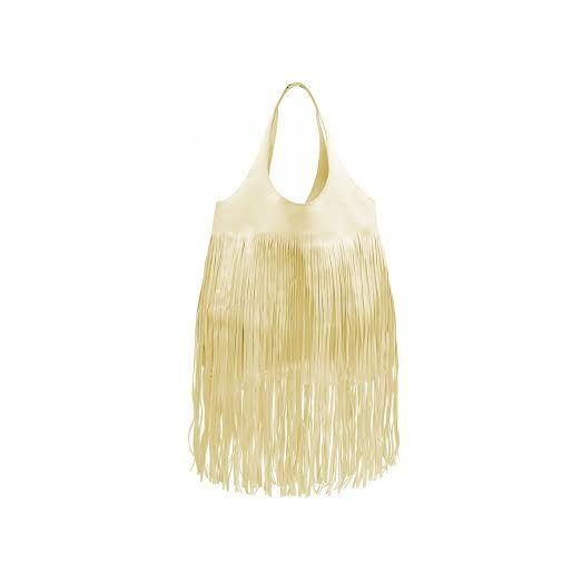 Borsa a spalla in pelle colore oro,con frange,  by Luri Borse.