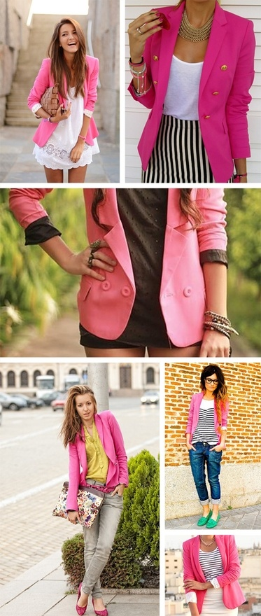 I want a pink blazer.: Idea, Fashion, Pink Jacket, Style, Outfit, Hot Pink, Colored Blazer, Pink Blazers