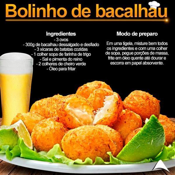Que tal uma receitinha de BOLINHO DE BACALHAU super deliciosa nessa sexta-feira? Ótimo acompanhamento para aquela cervejinha!!!!! Super prática e rápida   Fique de olho em nossas postagens...
