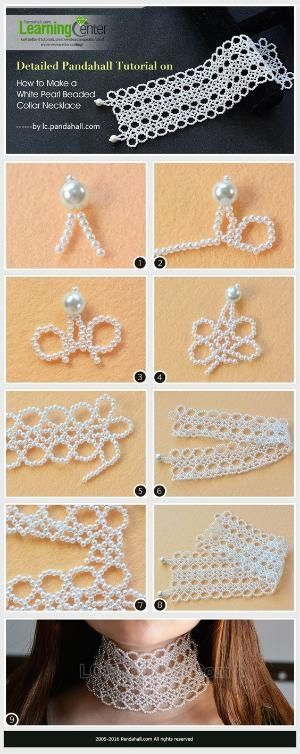 Detailed Pandahall Tutorial on How to Make a White Pearl Beaded Collar Necklace from LC.Pandahall.com | Jewelry Making Tutorials & Tips 2 | Pinterest by Jersica - Jewelry for everyday. High quality low prices! Made in England designer jewelry. Sterling silver & gold earrings, necklaces, bracelets, brooches, cuff links, jewelry sets.