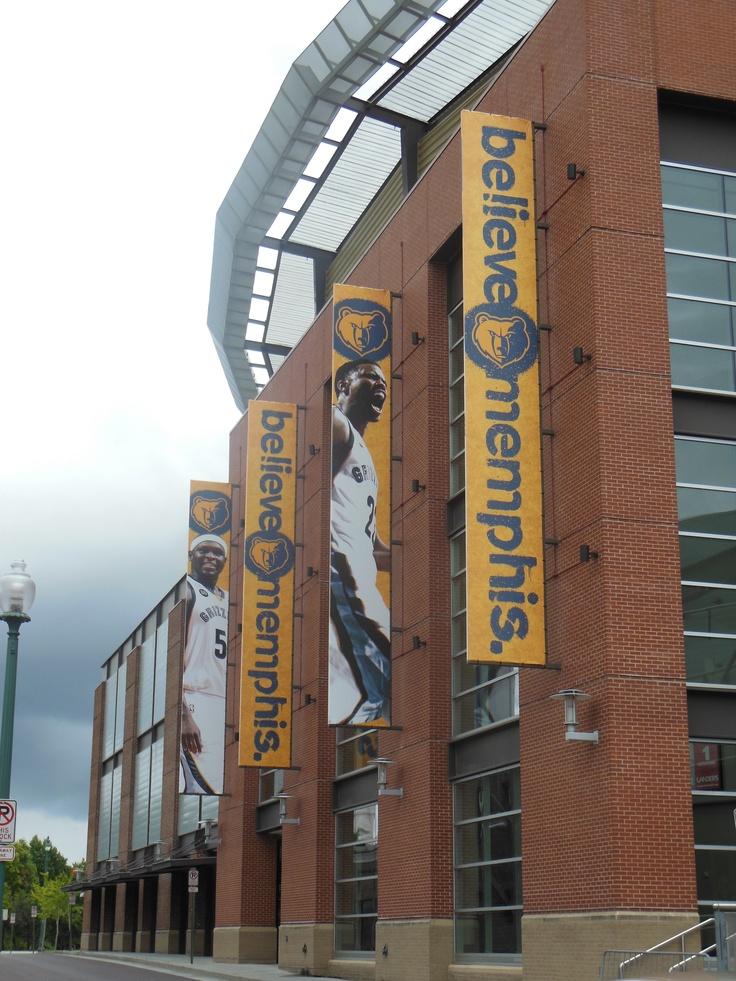 BELIEVE MEMPHIS banners outside FedEx Forum in Memphis, TN - Home of the Memphis Grizzlies