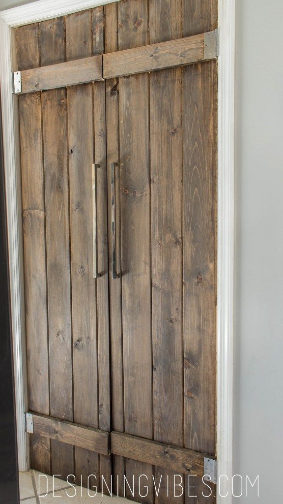 Customizing doors is a great way to distinguish your style.  These DIY farm doors by Designing Vibes are a great way to add the warmth of wood to your decor.