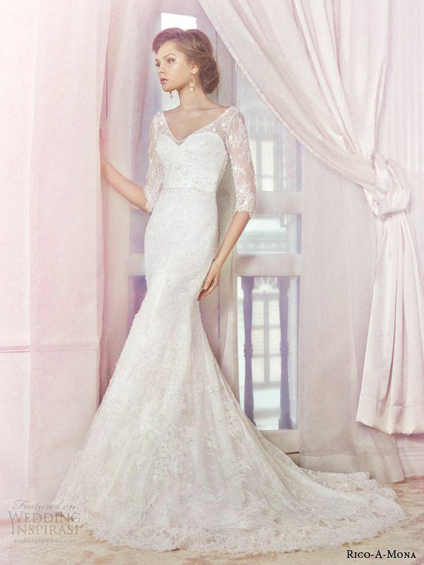 http://www.weddinginspirasi.com/2014/07/09/rico-a-mona-wedding-dresses-shades-of-romance-bridal-collection/ rico a mona bridal 2014 lace #wedding dress with illusion sleeves #weddings #weddingdress
