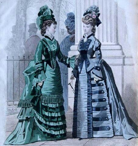 Mujeres con vestidos con polisón. Las faldas y sobrefaldas se recogían por detrás para exagerarlas.