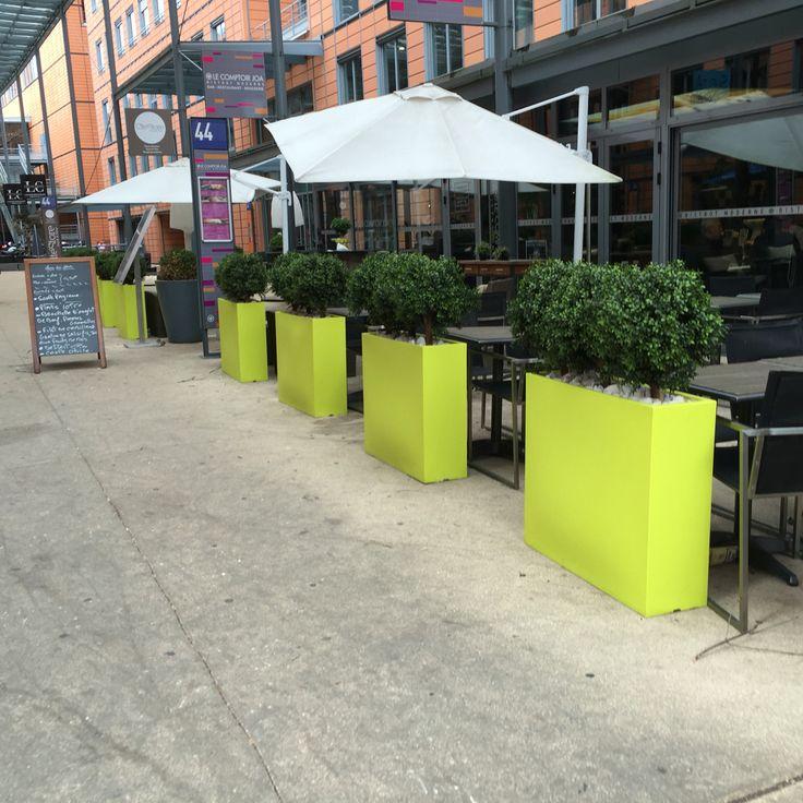 Terrasse restaurant buis artificiel agencement vert paysagiste