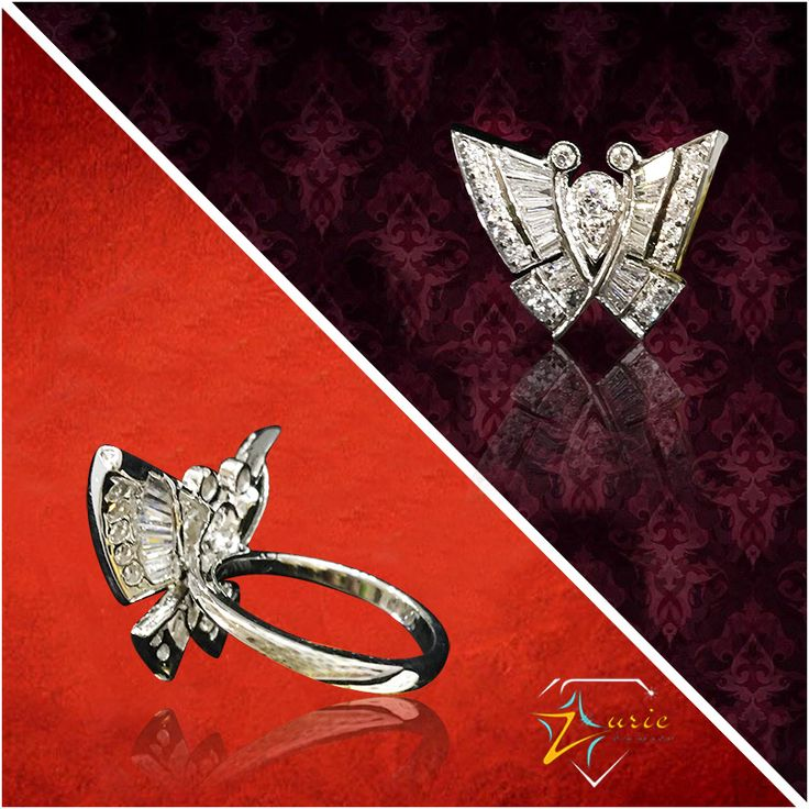 This majestic butterfly ring gets it's charm from Round Brilliants and Baguettes set in pave, channel and bezel setting to steal the show completely. #diamonds #butterflydesign #minutedetailing #ring #zurie