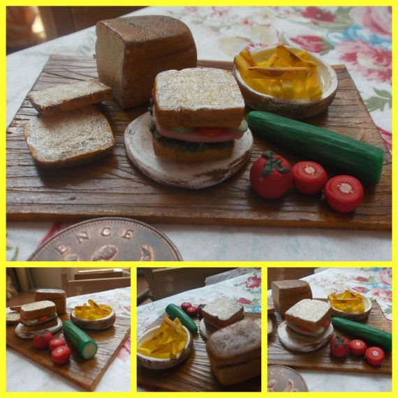 Miniature 'sandwich' scene Platter of  lunch. by Tinascraftsforyou, £16.00
