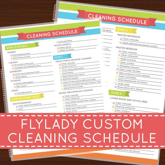 Flylady Custom Cleaning Schedule Laminated Insert | Home ...