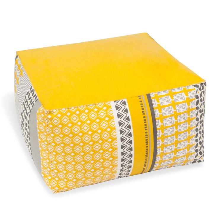 coussin de sol en coton jaune gris 25 x 45 cm sunny. Black Bedroom Furniture Sets. Home Design Ideas