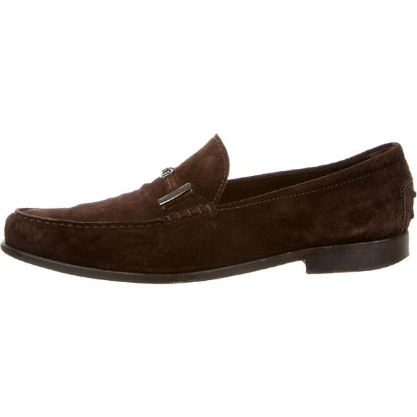 Pre-owned Tod's Suede Logo Loafers (£66) ❤ liked on Polyvore featuring men's fashion, men's shoes, men's loafers, brown, mens brown loafers, mens loafers, mens brown suede shoes, mens loafer shoes and mens brown loafer shoes